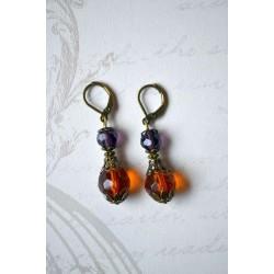 Pruuni ja lilla lihvitud klaashelmega Vintage stiilis kõrvarõngad