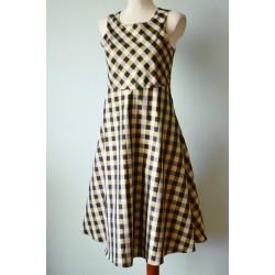 Kuldse läikega ruuduline 1950ndate stiilis kleit