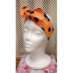 Orange polka dot pin-up style headband