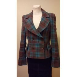 Sinise-pruuni ruuduline lipstaskutega jakk