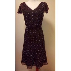 Polka dot dark brown dress