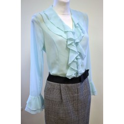 Light green blouse with flounches