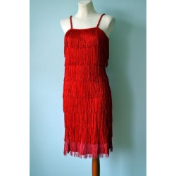 Red fringed 1920s style dress