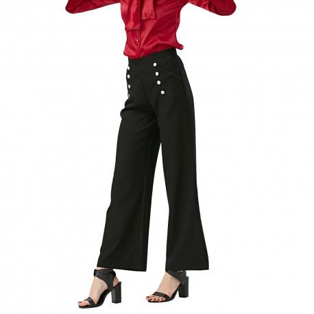 Kõrge piha ja nööpidega mustad püksid