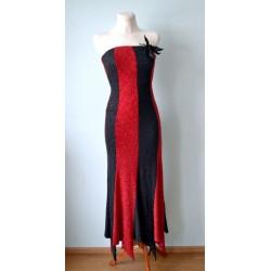 Punase-musta triibuline 1930ndate stiilis glamuurne pikk korsett-kleit