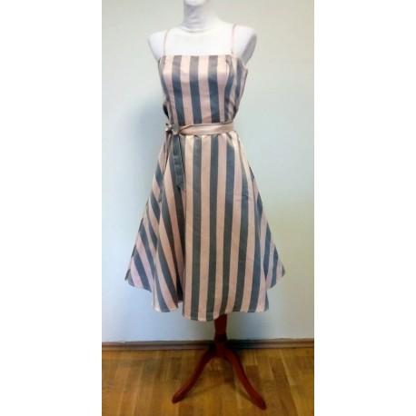 Halli-roosa triibuline 1950ndate stiilis kleit