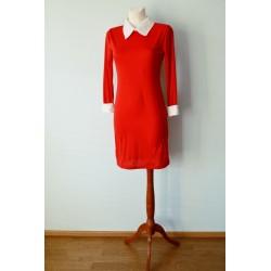 Valge krae ja varrukatega Vintage stiilis kleit