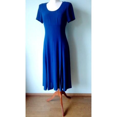 Tumesinine lühikeste varrukatega taljesse hoidev kleit