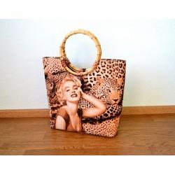 Marilyn Monroe pildiga leopardimustriline Rockabilly stiilis kott