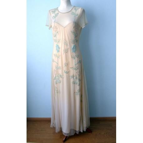 Litritega elegantne tüllist 1930ndate stiilis pikk kleit