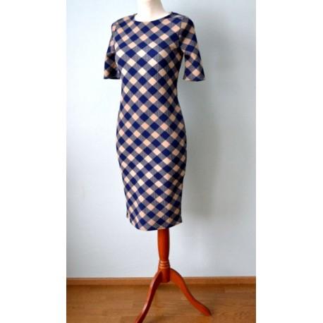 Beeži-sinise ruuduline pliiatskleit