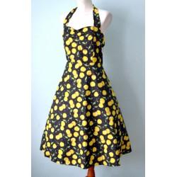Kirsimustriline Rockabilly stiilis kleit