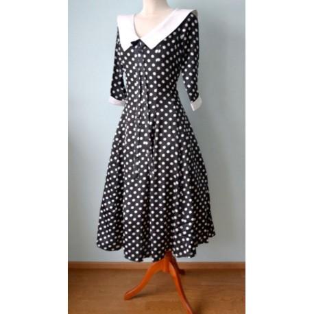 3605a44ffdf Valge kraega must valgete täppidega 1940ndate stiilis kleit - Muigur ...