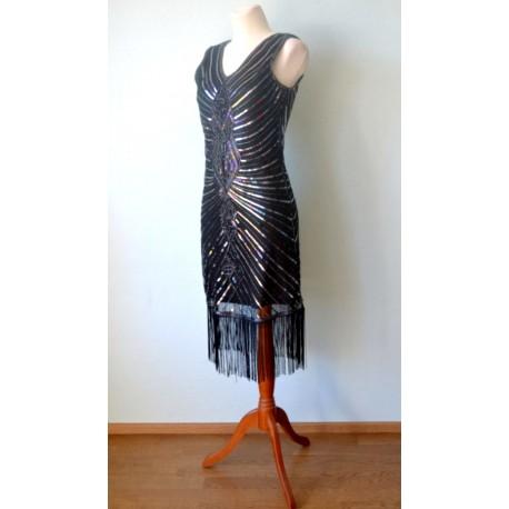 Hõbedaste litrite ja mustade narmastega 1920ndate stiilis kleit