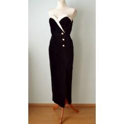 Valgete detailidega elegantne must sametist suure lõhikuga vintage kleit