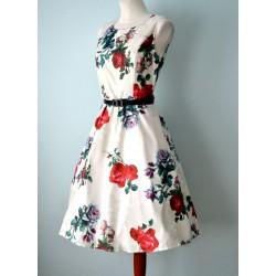 Roosimustriline musta vööga valge 1950ndate stiilis kleit