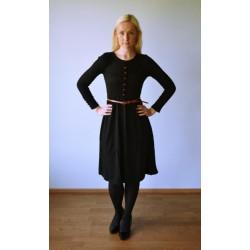 Pruuni vöö ja nööpidega Vintage stiilis kootud kleit