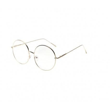 Hiigelsuured kuldsete raamide ja nullklaasidega vintage stiilis prillid