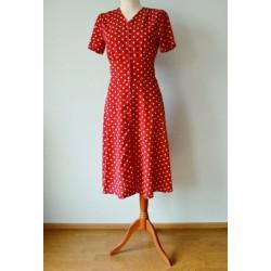 Valgete täppidega A-lõikeline punane vintage stiilis kleit