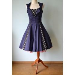 Täppidega tumesinine Rockabilly stiilis kleit