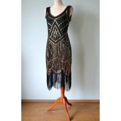 Luksuslik kuldsete litrite ja mustade narmastega 1920ndate stiilis kleit