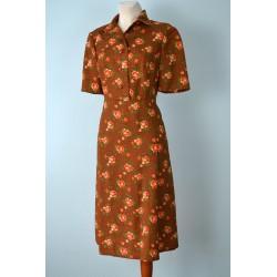 Pruun roosimustriline kolmnurkkraega vintage kleit