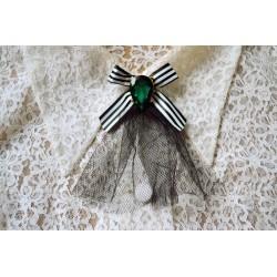 Triibulise lipsu, suure rohelise kiri ja musta pitsiga vintage stiilis pross