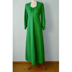Pikkade varrukatega maani roheline vintage kleit