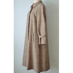 A-lõikeline taskutega ruuduline pruun villane vintage mantel