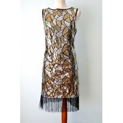 1920ndate stiilis narmaste ja litritega kuldne kleit