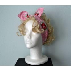 Roosimustriline valgete täppidega roosa Pin-up stiilis peapael